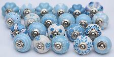 Assorted Sky Blue Ceramic Door Knobs Handpainted Kitchen Cabinet Drawer Pulls 12