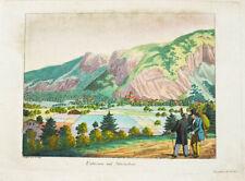 c1810 Interlaken Unterseen Kolorierte Kupferstich-Ansicht Geissler