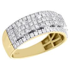 10K Yellow Gold Round Diamond Mens Wedding Band Waved & Domed Ring 1.02 CT.