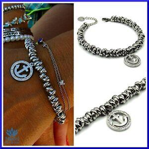 Bracciale donna con ciondolo ancora in acciaio inox da catena nodi braccialetto
