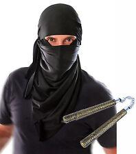 Mens Adult Ninja Terrorist Hood Fancy Dress Halloween Costume with Toy