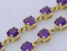 Lovely GENUINE 9K 9ct Solid Gold NATURAL Amethyst Line Bracelet 18.5cm Long