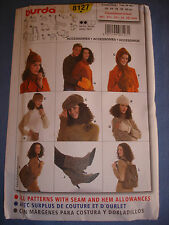 Burda 8127 sewing pattern accessories, hats , gloves, bags