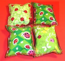 Cat Catnip Pillow Toy - Hand Made Cute Lady Bugs Mix Patterns Rectangle - 4 ea