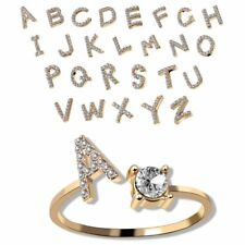 26 Letters Initials A-Z Crystal Zircon Crystal Adjustable Ring Women Jewelry