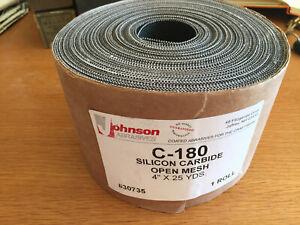 "JOHNSON ABRASIVES C-180 SILICON CARBIDE OPEN MESH 4"" X 25 YDS ROLL NEW #30735"
