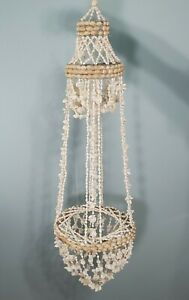 """VTG 40"""" Boho Sea Shell Cowrie Tiered Chandelier Hanging Plant Holder Beach Decor"""