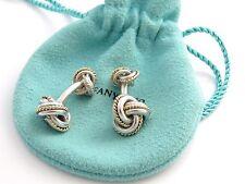 Tiffany RARE Silver 18K Gold Double Knot Cuff Links Link Cufflinks Cufflink
