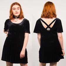 BLACK VELVET MINI DRESS VINTAGE 90'S SHORT SLEEVE STRAPPY BACK DETAIL CASUAL 14