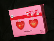 STRAND OF 10 BATTERY OPERATED RED HEARTS VALENTINE WEDDING LIGHTS DECORATIONS