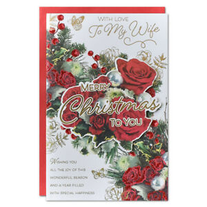 WIFE CHRISTMAS CARD ~ EXTRA LARGE 8 PAGE VERSE ~ QUALITY CARD RED ROSE DESIGN