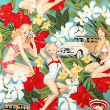 Alexander Henry Aloha Girls Tropical Hawaiian Pin up Girl Fabric - Antique Jade
