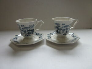 Nikko Classic Collection octagonal TEA CUP & SAUCERS, set of 2 Blue & White