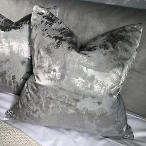 "Most Popular Luxury Cushion Cover 18"" Clarke &Clarke Fabric Grey Silver Metallic"