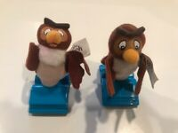 Lot of 2 McDonald's Toy Winnie The Pooh Owl Happy Meal Toy Stamp  Small Plush