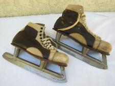 Vintage 1950s Union Hardware Co Goodyear Black/White Leather Ice Skates 10.5 Men