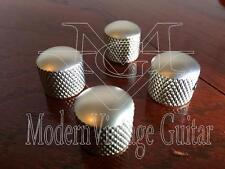 4  Modern Vintage Guitar  Dome Top Metal Knurled Knobs Nickel Satin