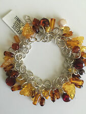 Valerio 888~Sterling Silver~ Multicolor Amber~Bracelet~9.5 Inches~100% authentic