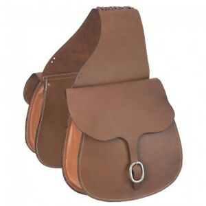 """Tough 1 Large 12x12"""" Light Chestnut Smooth Leather Saddle Bags 61-9575"""
