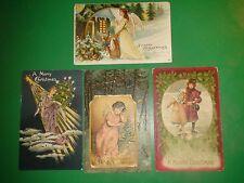 JD609 Vintage Dealer LOT of 4 High Quality Christmas Postcards Tree Germany