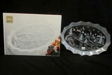 Mikasa Silent Night Christmas 17in Oval Canape Platter Frosted Glass Germany