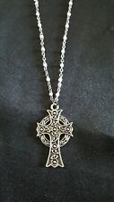 Antique Silver tone and white Celtic Cross necklace