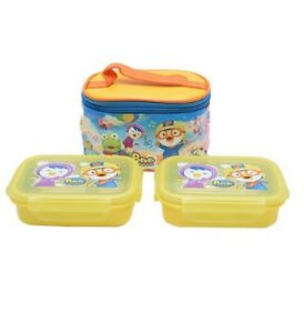 The Little Penguin Pororo 2 Layers Stainless Bento Lunch Box Food Container Bag