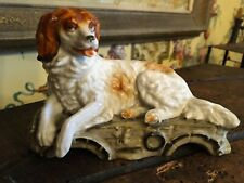 Antique English Intricate Porcelain Dog Statue Hand Painted