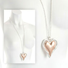 Rose Gold & Silver Matt Effect Heart Pendant Necklace RRP £9.00 - Brand New +Tag
