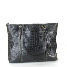 WORTHINGTON Faux Black Leather Reptile Briefcase Laptop Bag Attache Portfolio