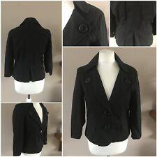 ladies h&m jacket coat size eur 42 us12  button fastening black used