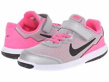 Nike Girls Sneakers NON TIE  Silver/Black/White/Pink Pow Girls Size 12 1/2 M