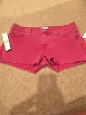 Hudson Amber Fray Hen Red Fade Denim Cut Off Shorts Size 28 NWT