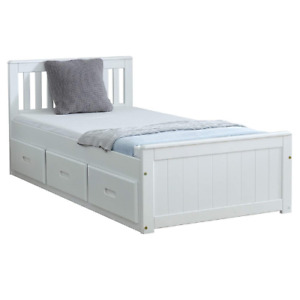 Imperfect Wooden Solid White Single 3FT Storage Bed   Storage Drawers Included