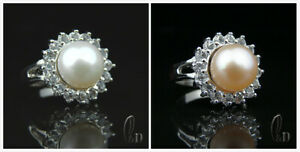 AU SELLER Chic Gorgeous 10mm Genuine Pearls Sparkling Ring 09071