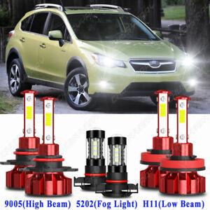 For Subaru XV Crosstrek 2013-2014 6x Front LED Headlight High Low Fog Light Kit