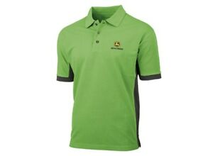 John Deere Adults Black or Green Side Panel Polo T-Shirt - Sizes S - 3XL