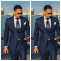 Striped Navy Blue Groom Men's Suit  Tuxedos Business Party Wedding Suit Tailored