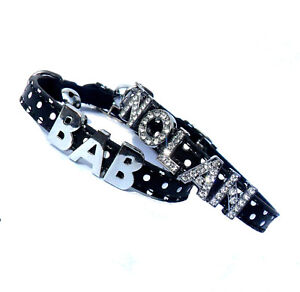 Personalised Name Polka Dot SAFETY CAT COLLAR Crystal Diamante Letters Black