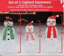 HOLIDAY Lighted Tinsel Snowmen Family Christmas Yard Decor (Set of 3) New!