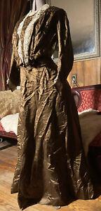 Antique Edwardian silk day dress with White Lace soutache trim 2pc corset boning