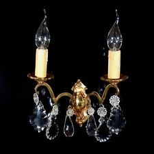 Vintage French Bronze Sconce with Pendeloque CrystalPrisms