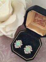Vintage Jewellery White Gold Opal Earrings Ear Rings Antique Deco Jewelry