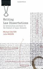 Writing Law Dissertations: an Introduction and Guide to the Conduct ... NEW BOOK