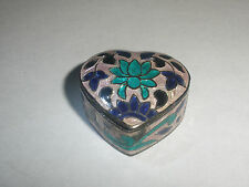 GREAT VINTAGE STERLING SILVER 925 ENAMEL GUILLOCHE SNUFF PILL BOX HEART FLOWERS