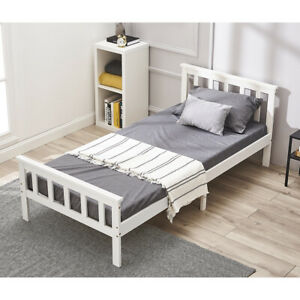 Modern 3FT Single Bed Frame Solid Wood Pine Bedstead Mattress Available in White