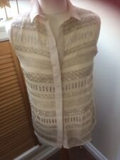 Bnwt:New Look:nude/silver Jewelled Sleeveless Blouse:size 6:RRP £26