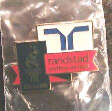 1996 Atlanta Olympic Sponsor Pin-Randstad Staffing Services-Green Rectangle