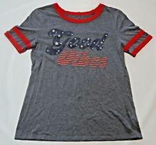 Arizona Jeans Co T Shirt Good Vibes Women Juniors Sz L Red Whit Blue Grey