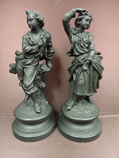 Terracotta Sculpture U & C Uffrecht Girl and Boy Black c.1895 Set of 2 Antique